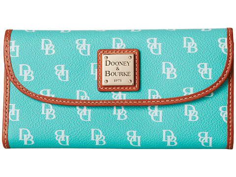 Dooney & Bourke - Continental Clutch (Seafoam/White w/ Tan Trim) Clutch Handbags