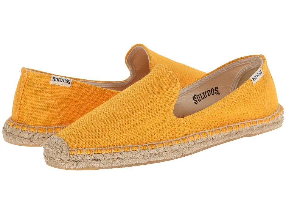 Soludos - Smoking Slipper Linen (Saffron) Women's Slip on Shoes
