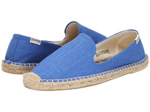 Soludos - Smoking Slipper Linen (Vivid Blue) Women's Slip on Shoes