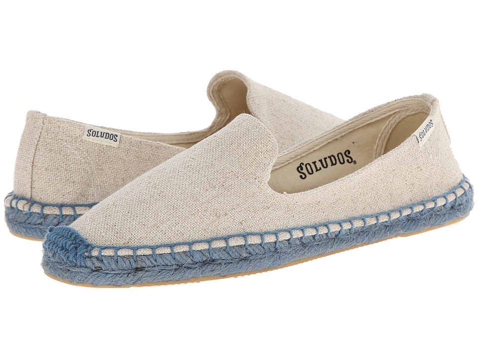 Soludos - Smoking Slipper Colored Jute Sole (Sand Woven/Blue Sole) Women