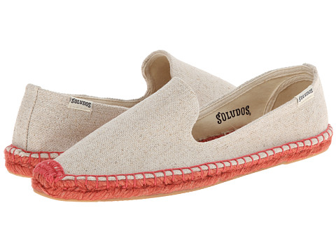 Soludos - Smoking Slipper Colored Jute Sole (Sand Woven/Pink Sole) Women