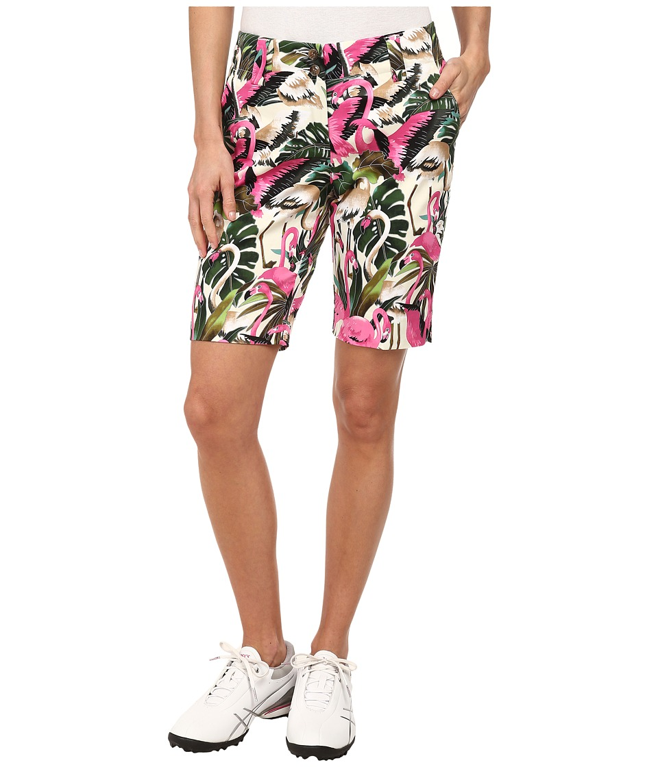 Loudmouth Golf - Vintage Pink Flamingos Shorts (White) Women's Shorts
