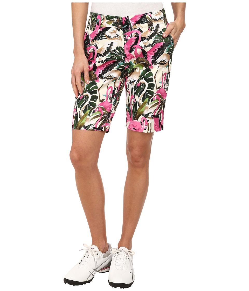 Loudmouth Golf - Vintage Pink Flamingos Shorts (White) Women's Shorts