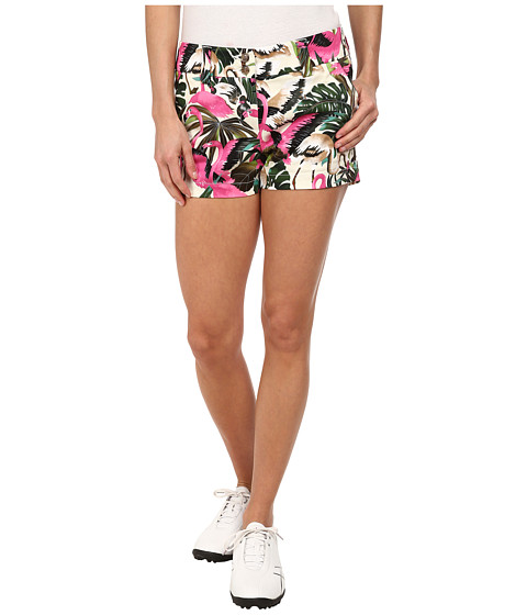 Loudmouth Golf - Vintage Pink Flamingos Mini Shorts (White) Women