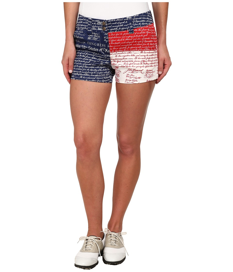 Loudmouth Golf - Declaration Of Indepants Mini Shorts (Navy) Women's Shorts