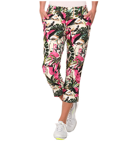 Loudmouth Golf - Vintage Pink Flamingos Golf Capri (White) Women's Capri