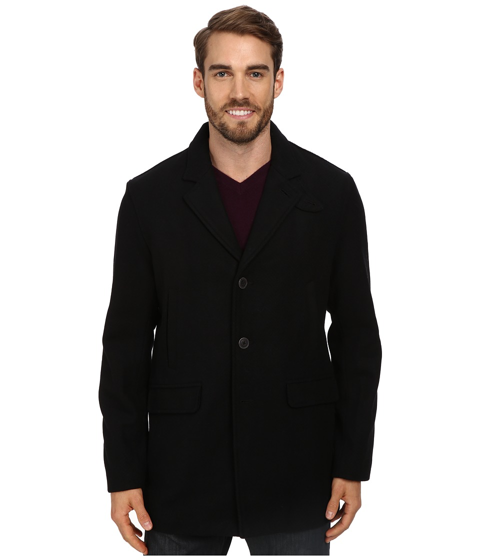 Perry Ellis - Solid Textured Herringbone Top Coat (Black) Men's Coat