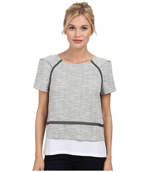 Tart - Pia Top (Grey/Navy Combo) Women's Short Sleeve Pullover