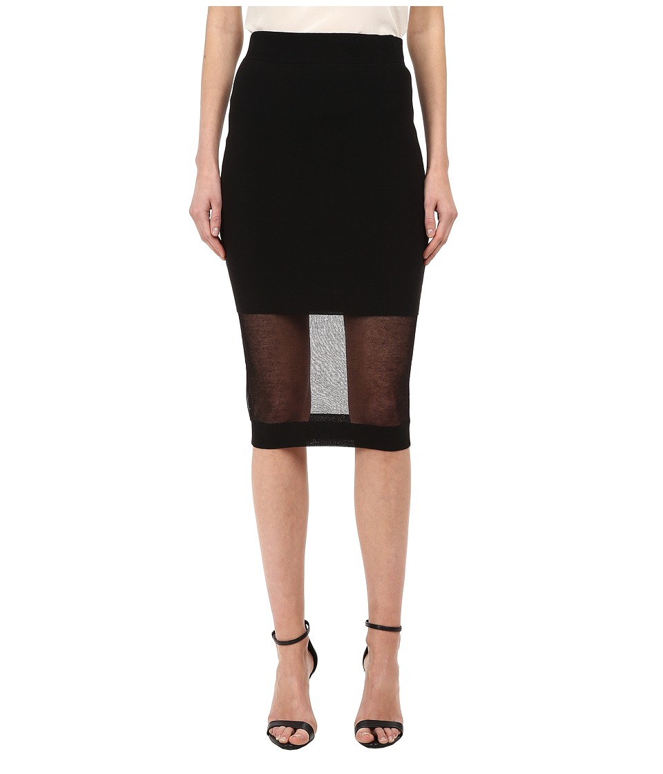 McQ - Solid/Sheer Skirt (Darkest Black) Women's Skirt