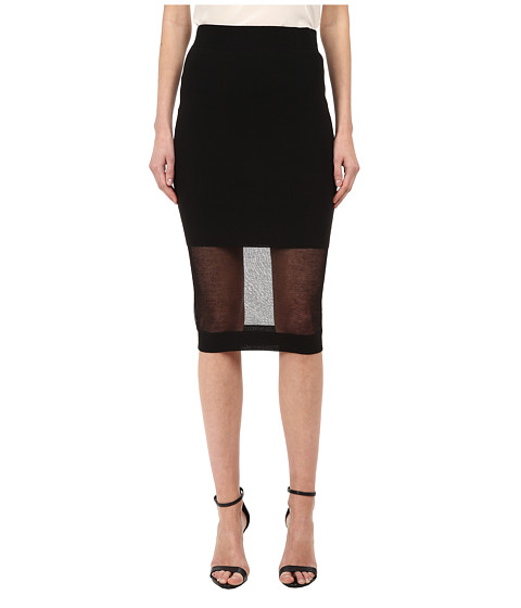 McQ - Solid/Sheer Skirt (Darkest Black) Women