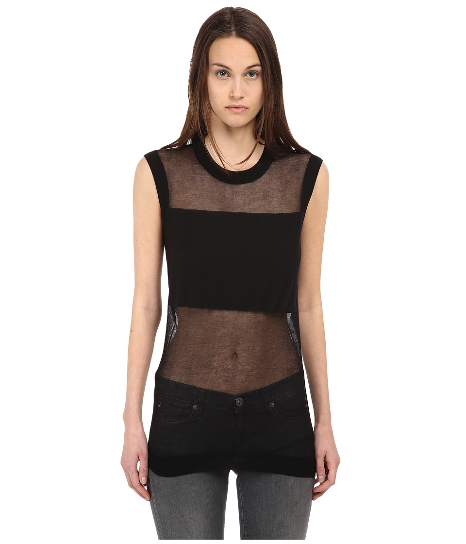 McQ - Crew Neck Sleeveless Top (Darkest Black) Women's Clothing