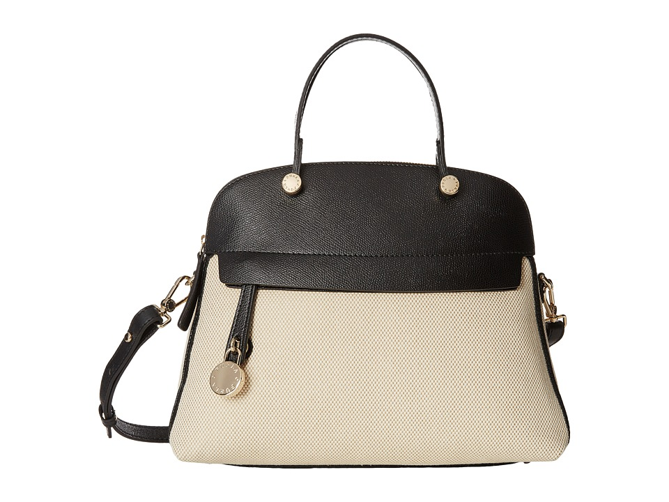 Furla - Piper Medium Dome (Naturale/Onyx) Satchel Handbags