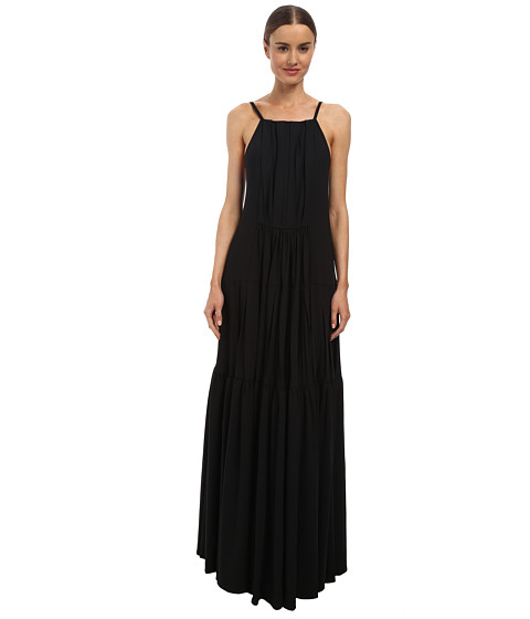 Vera Wang - Stretch Gaberdine Bib Neck Gown w/ Pleated Tiers and Button Back (Black) Women's Dress