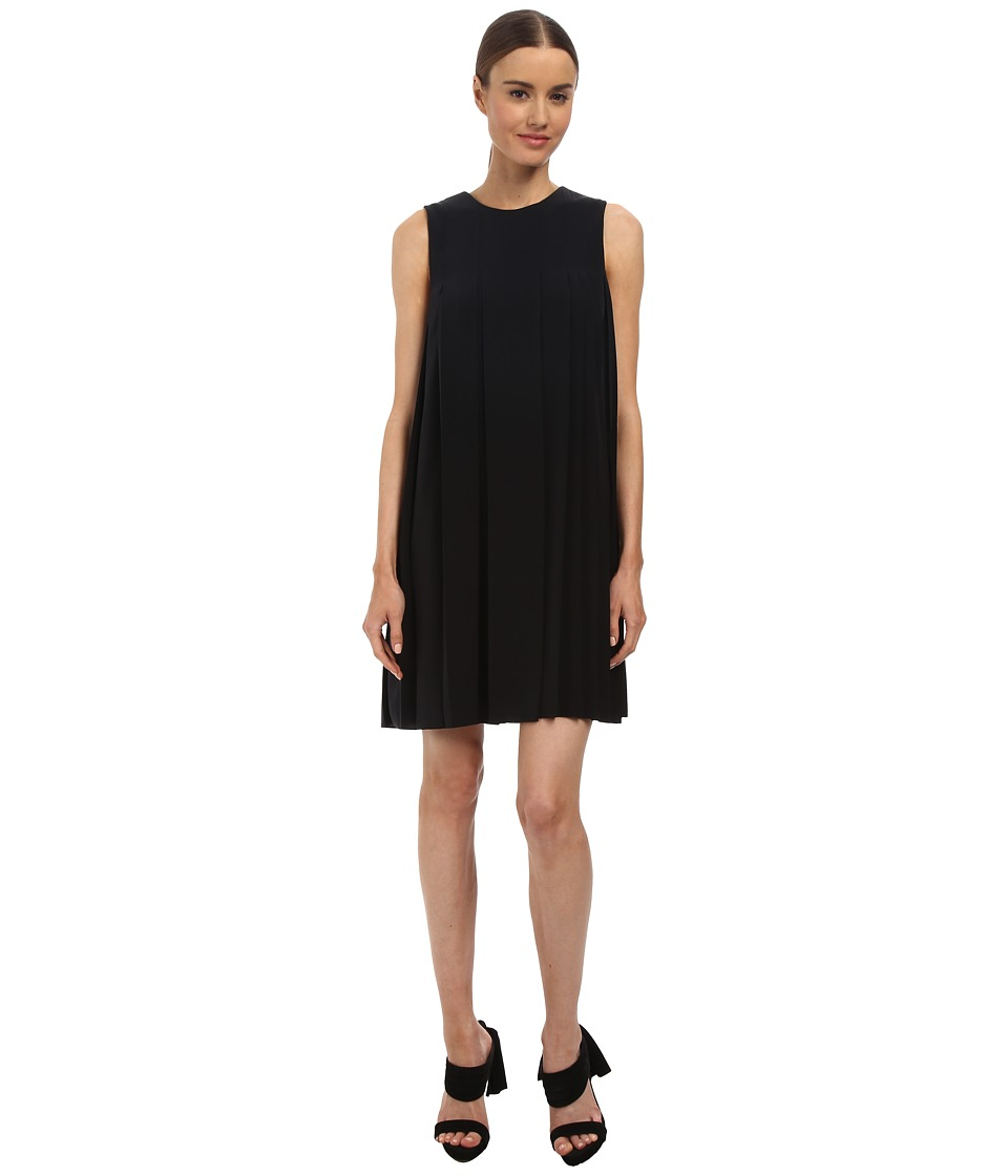 Vera Wang Crepe de Chine Sleeveless Shift Dress w/ Pleat Detail (Black) Women