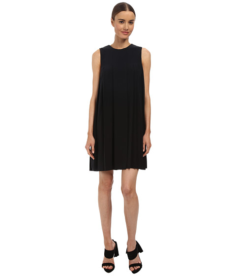 Vera Wang - Crepe de Chine Sleeveless Shift Dress w/ Pleat Detail (Black) Women