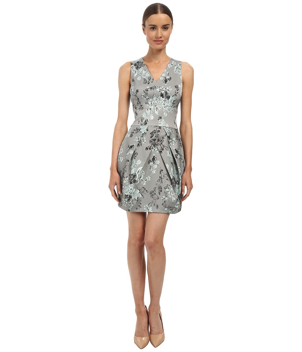 Vera Wang Printed Stretch Viscose V-Neck Sleeveless Dress w/ Tulip Skirt (Aquamarine) Women
