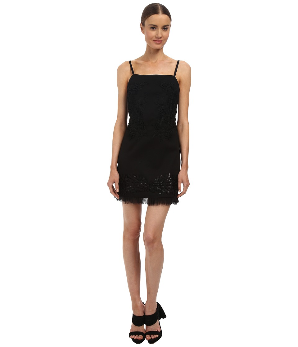Vera Wang Bib Neck Mini Shift Dress w/ Passementiere (Black) Women