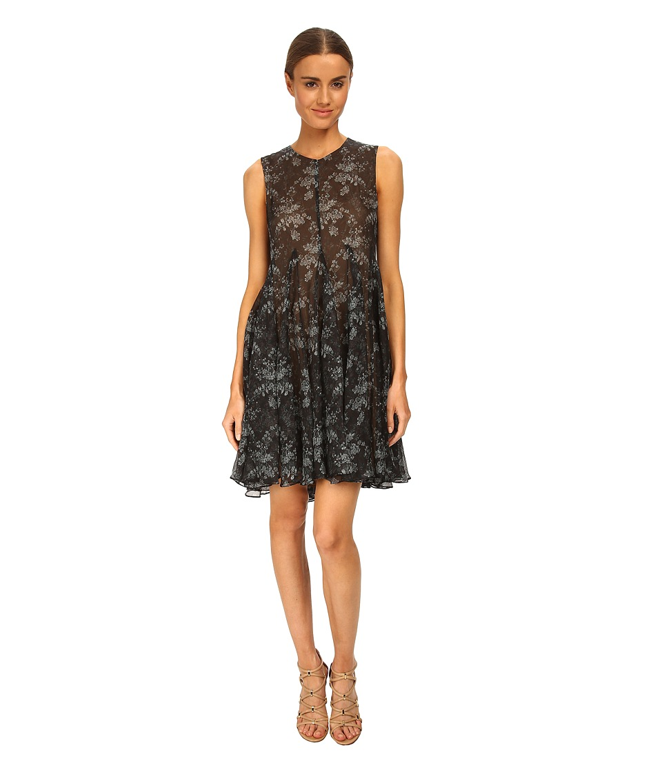 Vera Wang - Printed Gauze Sleeveless Trapeze Dress (Charcoal) Women's Dress