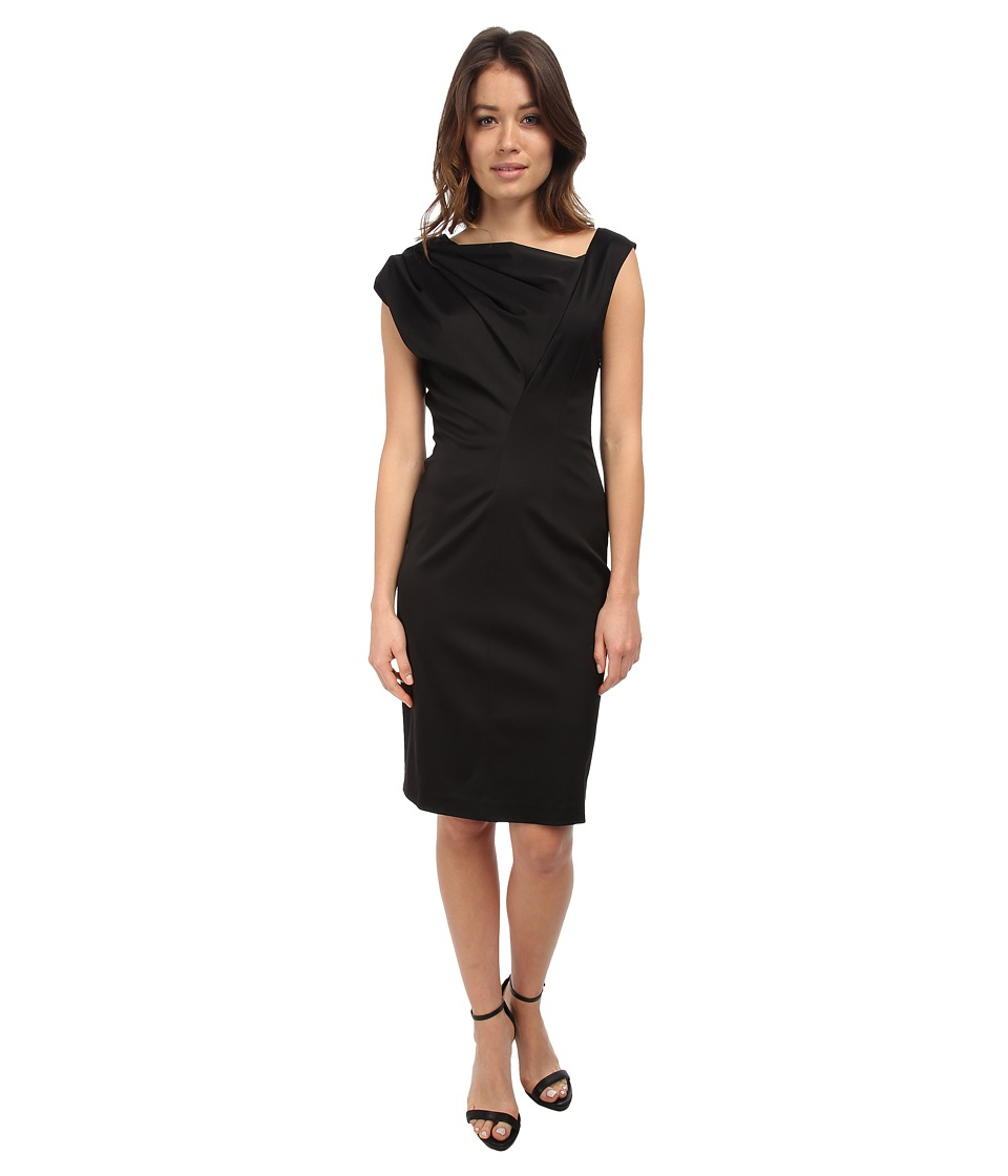 Vera Wang - Stretch Viscose Asymmetrical Dress (Black) Women's Dress