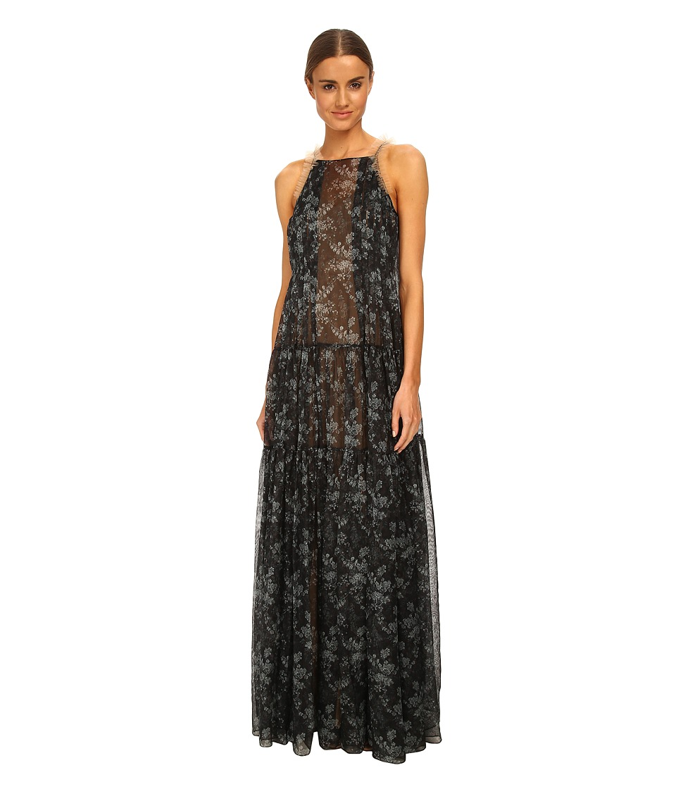 Vera Wang - Printed Gauze Robe Gown w/ Pleated and Ruched Tiers (Charcoal) Women's Dress