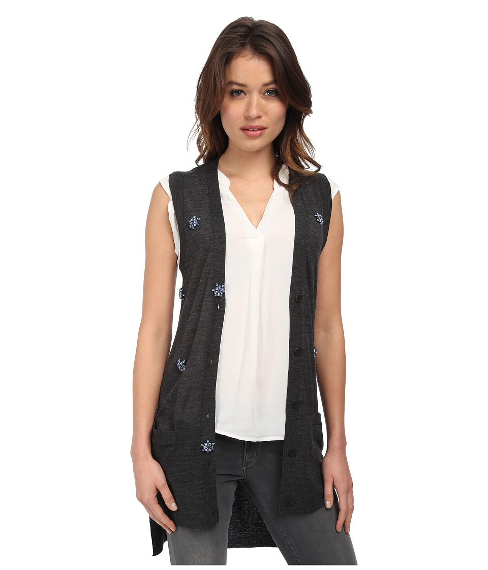 Vera Wang - Sleeveless Vest w/ Scattered Swarovski Embellishment (Charcoal/Sapphire) Women's Vest