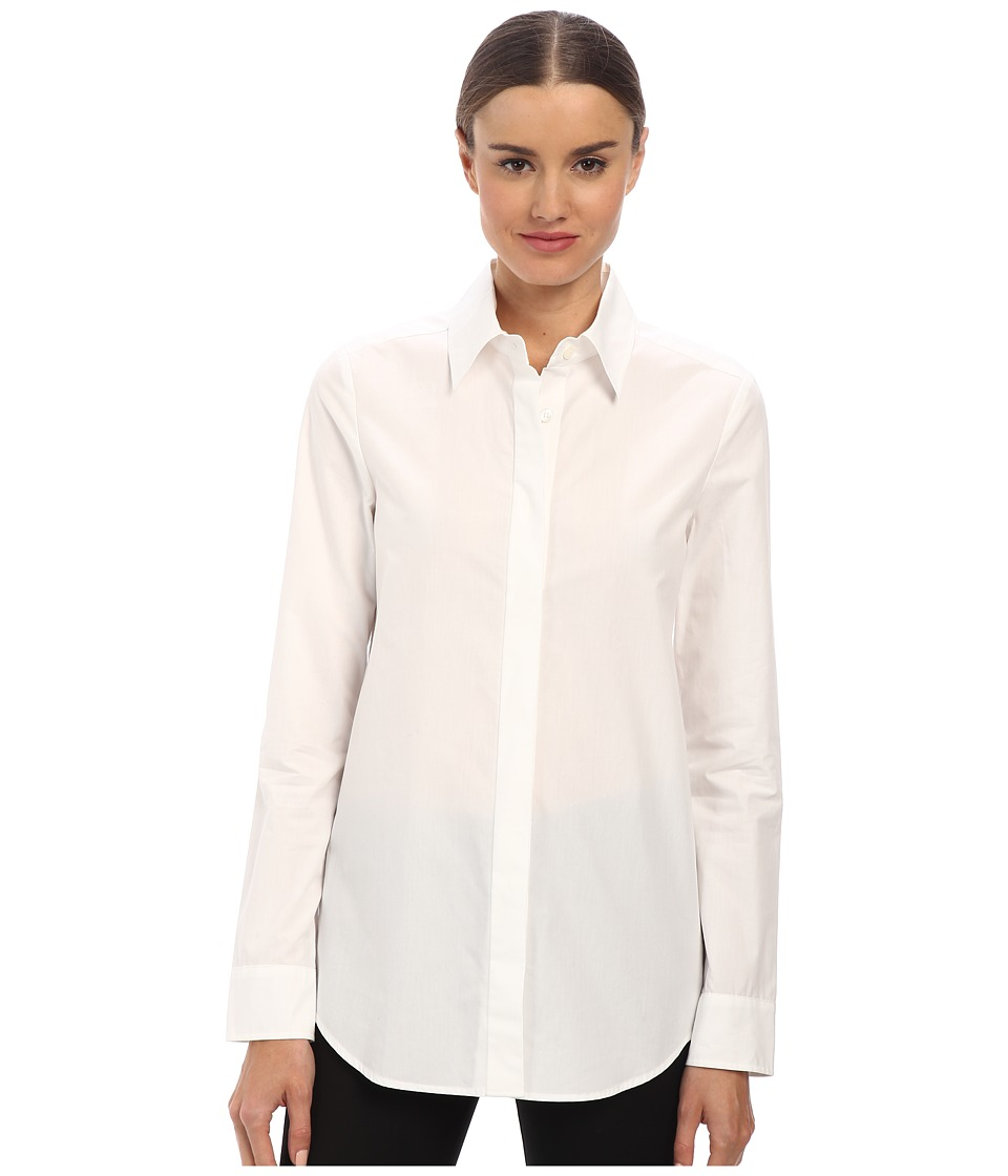 Vera Wang - Cotton Poplin Oxford Top w/ Passementiere (White) Women's Long Sleeve Button Up