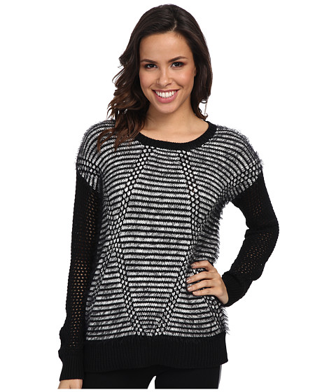 TWO by Vince Camuto - Oversize Argyle Jacquard Eyelash Pullover (Rich Black) Women's Long Sleeve Pullover