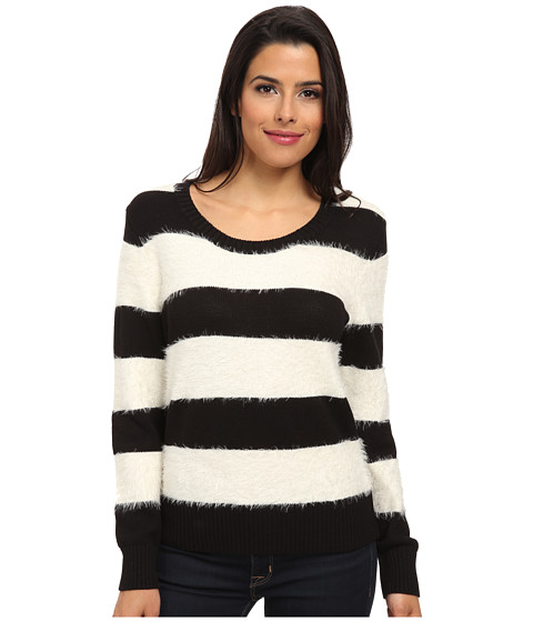 TWO by Vince Camuto - Jersey Stripe Eyelash Yarn Pullover (Rich Black) Women's Sweater