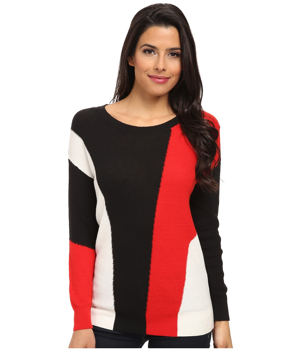 TWO by Vince Camuto - Hi-Lo Color Block Intarsia Pullover (Rich Black) Women's Long Sleeve Pullover