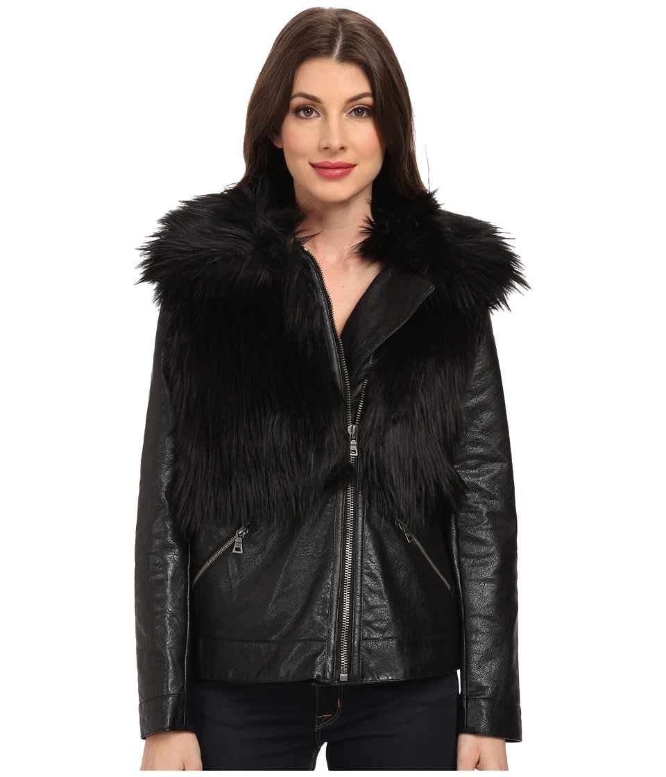 TWO by Vince Camuto - Oversized Pleather Coat with Faux Fox Fur (Rich Black) Women's Coat