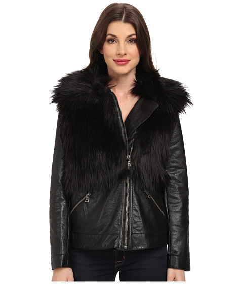 TWO by Vince Camuto - Oversized Pleather Coat with Faux Fox Fur (Rich Black) Women