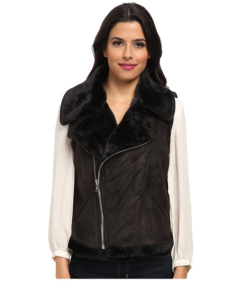 TWO by Vince Camuto - Suede Shearling Asymmetrical Vest (Rich Black) Women