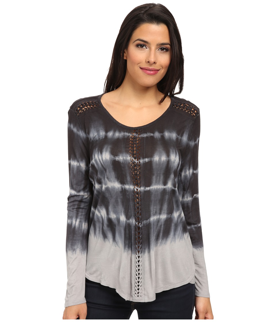 TWO by Vince Camuto - Long Sleeve Tie-Dye Tunic with Hand Braiding (Rich Black) Women's Blouse