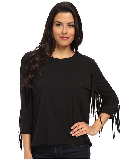 TWO by Vince Camuto - Long Sleeve Top with Sleeve Fringe (Rich Black) Women