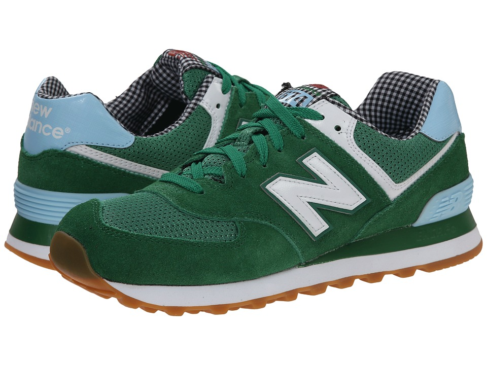 New Balance Classics - WL574 - Picnic Collection (Green/White/Suede/Mesh) Women's Classic Shoes