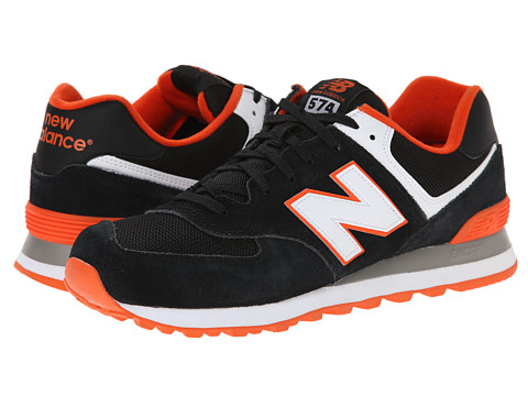 New Balance Classics - ML574 - Core Plus Collection (Black/Orange/Suede/Mesh) Men