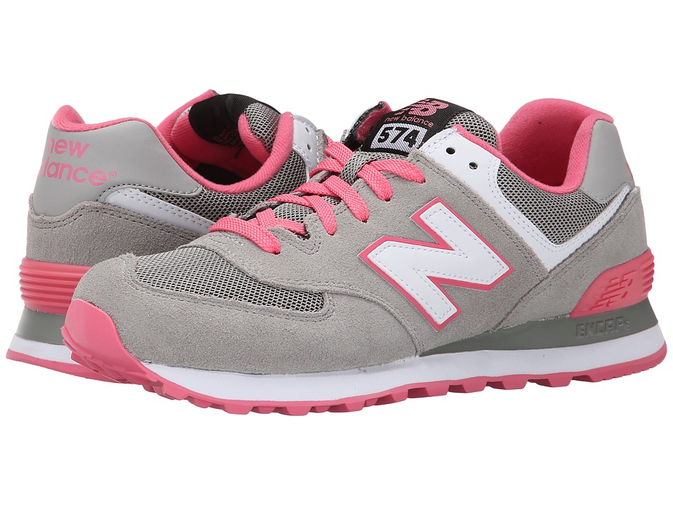 New Balance Classics - WL574 - Core Plus Collection (Grey/Pink/Suede/Mesh) Women's Classic Shoes
