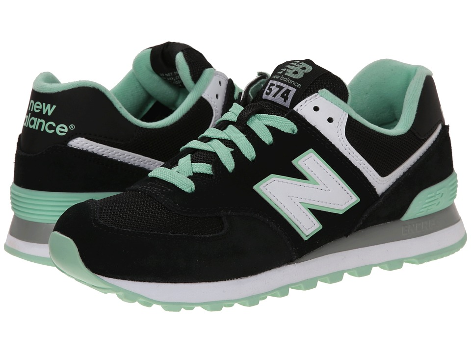 New Balance Classics - WL574 - Core Plus Collection (Black/Green/Suede/Mesh) Women