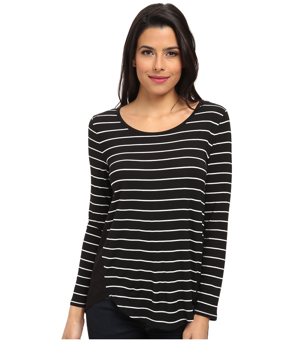 TWO by Vince Camuto - Long Sleeve Hi-Lo Top with Woven Back (Rich Black) Women