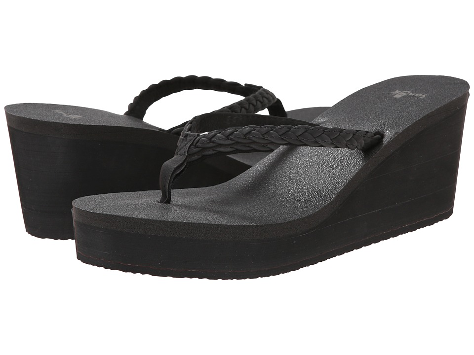 Sanuk Yoga Braided Wedge (Black) Women