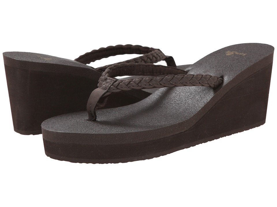 Sanuk Yoga Braided Wedge (Brown) Women