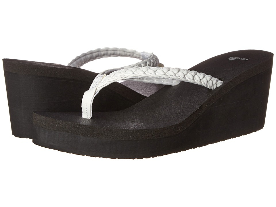 Sanuk - Yoga Braided Wedge (White) Women's Wedge Shoes