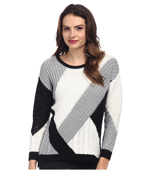 TWO by Vince Camuto - Diagonal Color Stitch Blocked Pullover (Rich Black) Women's Sweater