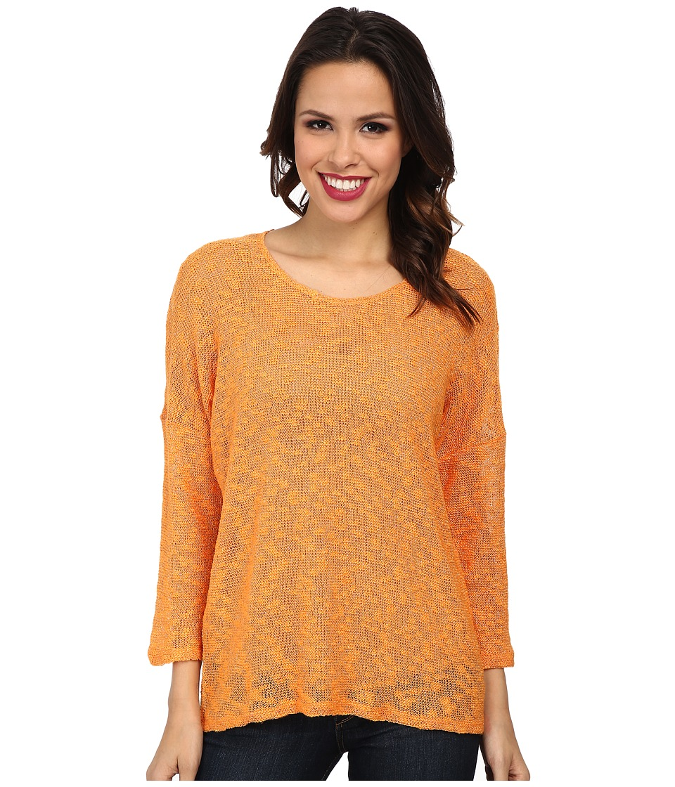 TWO by Vince Camuto - 3/4 Sleeve Silver Lux Top (Orange Burst) Women's Blouse