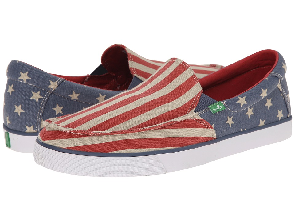 Sanuk - Sideline Patriot (American Flag) Men's Slip on Shoes