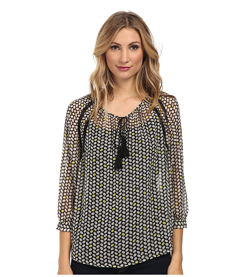 TWO by Vince Camuto - Chevron Beans Peasant Blouse (Rich Black) Women