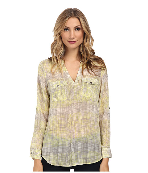 TWO by Vince Camuto - Long Sleeve Freestyle Etching Split Neck Tunic (Lemon Zest) Women's Blouse