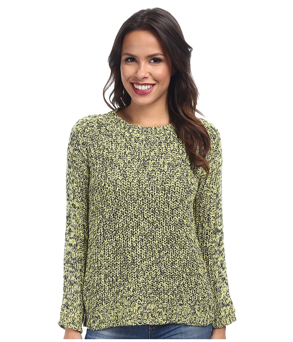 TWO by Vince Camuto - Long Sleeve Marled Half Cardigan Stitch Pullover (Lemon Zest) Women's Sweater