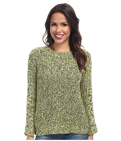 TWO by Vince Camuto - Long Sleeve Marled Half Cardigan Stitch Pullover (Lemon Zest) Women