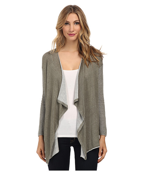 TWO by Vince Camuto - Plaited Drape Front Cardigan (Dusty Olive) Women's Sweater